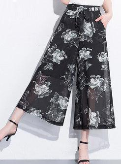 All Over Print Chiffon Wide Leg Pants