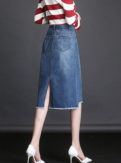 Stylish Asymmetric All-match Denim Skirt