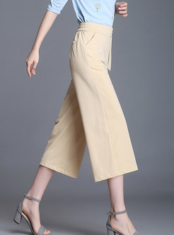 Beige High Waist Mid-calf Wide Leg Pants
