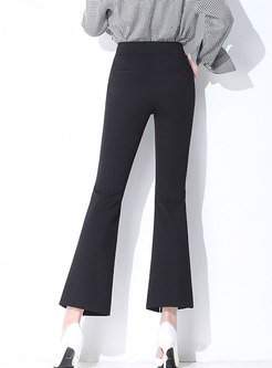 Black High Waist Skinny Slit Flare Pants