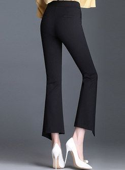Monochrome Simple Slit All-match Flare Pants