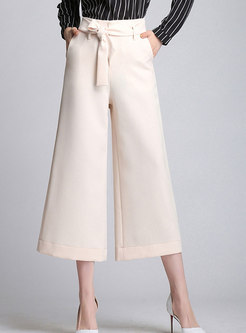 Trendy Solid Color High Waist Wide Leg Pants