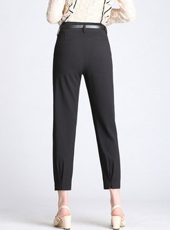 Work Simple Pure Color Self-Tie Skinny Pants