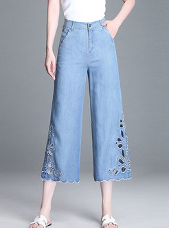 Vintage Blue Elastic Waist Embroidered Denim Pants
