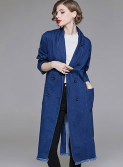 Denim Double-breasted Lapel Rough Selvedge Trench Coat