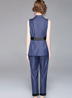 Chic Notched Double-breasted Sleeveless Tied Top & Pencil Pants