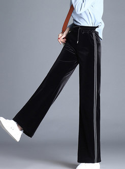 Vintage Black Straight Tied Waist Wide Leg Pants