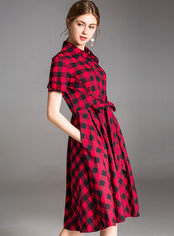 Grid Lapel Bowknot Front A Line Dress