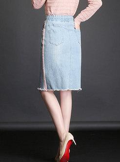 Light Blue Casual Striped Distressed Denim Skirt