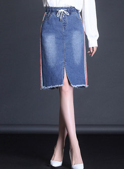 Casual Deep Blue Distressed Denim Skirt With Rough Selvedge