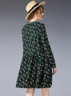 Three Quarters Sleeve Print Mini Shift Dress