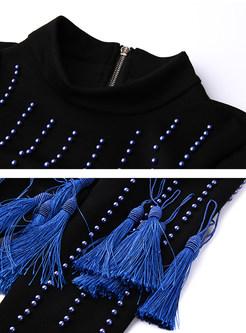 Casual Beaded Tassel Short Sweatshirt