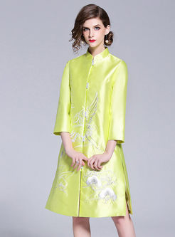Pure Color Embroidered Single-breasted Slit Coat