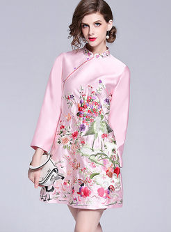 Vintage Stand Collar Embroidered Long Sleeve Zipped Dress