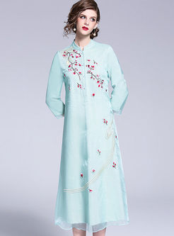 Three Quarters Sleeve Single-breasted Embroidered Dress