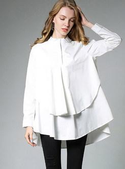 Trendy Solid Color Big Hem Loose Blouse