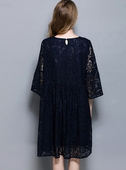 Three Quarters Sleeve Plus Size Shift Lace Dress