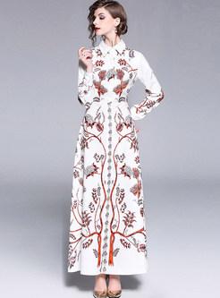 Turn Down Collar Long Sleeve Waist Print Dress