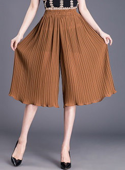 Pleated Mid-calf Wide Leg Pants With See-through Look