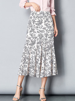 Chiffon High Waist Falbala Mermaid Skirt