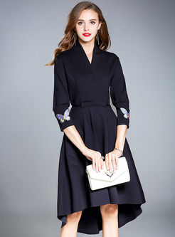 3/4 Sleeve Embroidered Asymmetric A Line Dress
