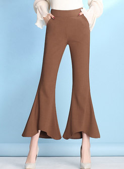 Chic Vintage Solid Color Mermaid Flare Pants