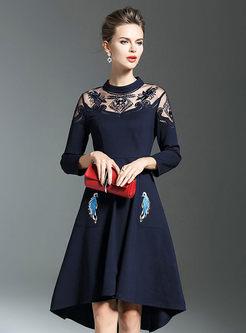 Embroidered Gathered Waist Asymmetric Skater Dress