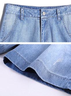 Light Blue Distressed Denim Wide Leg Shorts