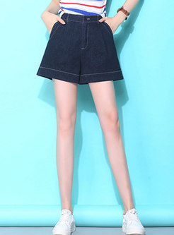 Stylish High Waist Washed Denim Wide Leg Shorts