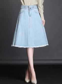 Plus Size Light Blue High Waist Denim Big Hem Skirt