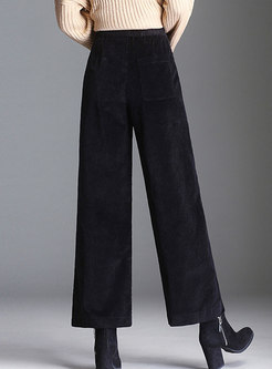 Monochrome Casual Wide Leg Pants With Pockets