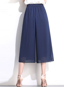 Solid Color High Waist Mid-calf Wide Leg Pants