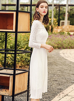 White Brief Hollow Out Lace Pleated A Line Dress