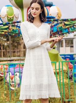 Stylish V-neck Waist Zippered Pure Color Chiffon Dress
