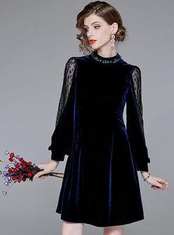 Lace Splicing Beaded Stand Collar Lantern Sleeve Dress