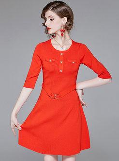 Solid Color Half Sleeve Belted A Line Dress