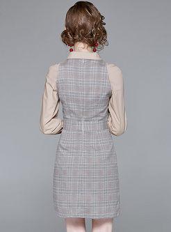 Single-breasted Grid Splicing Lapel Sheath Dress