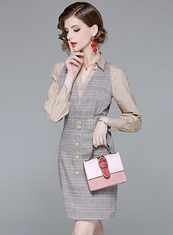 Single-breasted Grid Splicing Lapel Sheath Dress