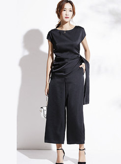 Fashion O-neck Top & Calf-length Wide Leg Pants