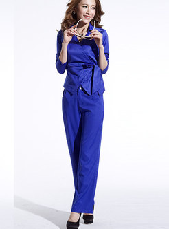 Work Stereoscopic Slim Tied Two-piece Outfits