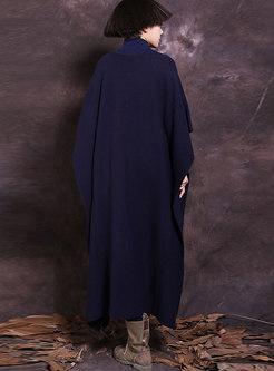 Vintage Plus Size Dolman-sleeve Knitting Maxi Dress