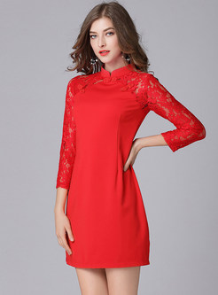 Solid Color Mandarin Collar Improved Cheongsam Dress