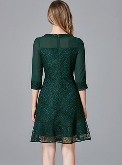 Green Brief Half Sleeve Beaded Slim Mini Dress