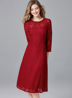 Red O-neck Hollow Out Waist Lace Dress