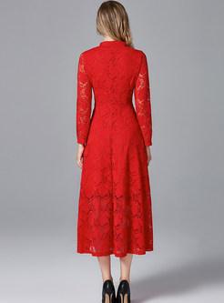 Plus Size Long Sleeve Big Hem Cocktail Dress