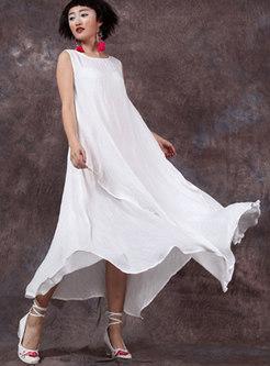 Solid Color Sleeveless Loose Irregular Maxi Dress