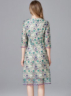 Fashion Plus Size Mesh Embroidered Dress