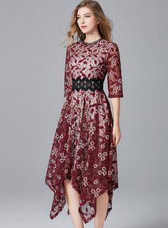 Half Sleeve Lace Splicing Slim Asymmetric Dress