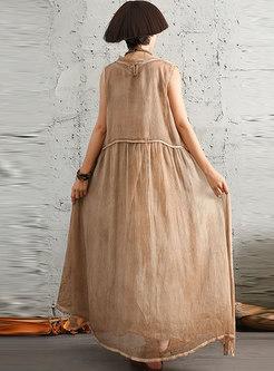 Vintage Sleeveless O-neck Shift Maxi Dress