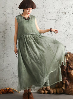 O-neck Monochrome Vintage Sleeveless Maxi Dress